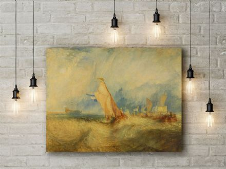 J.M.W. Turner: Van Tromp, Going About to Please his Masters, Ships a Sea.. Fine Art Canvas.